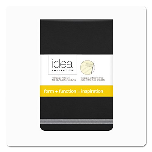 TOPS Idea Collective Softcover Journal, Wide Rule, Cream Paper, 5.5 x 3.5 Inches, 192 Pages, Black Cover (56885) - Flip Top Notepad