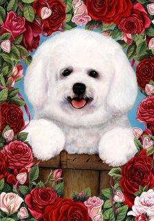 "Cheap Bichon Frise basket by Tamara Burnett Valentine Roses Garden Dog Breed Flag 12"" x 17"""