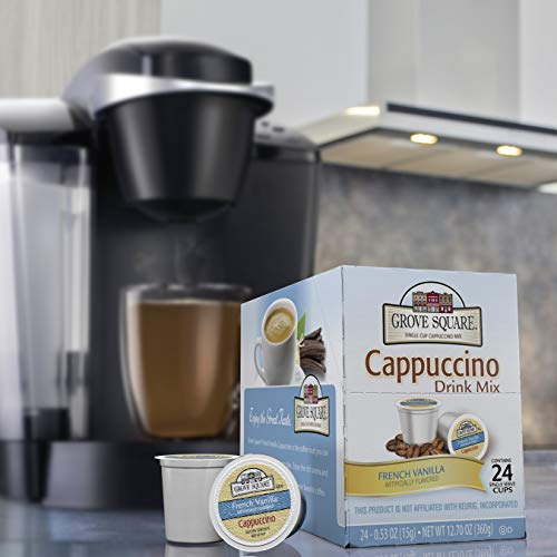 (Grove Square Cappuccino, French Vanilla, 24 Count Single Serve Cups)