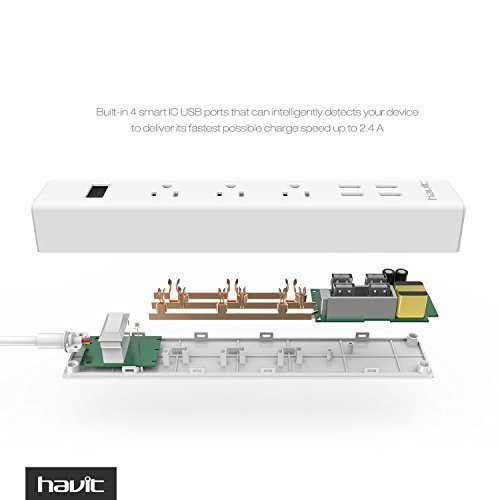 HAVIT USB Power Strip/PowerPort Strip, with 4-Port USB Charging Stations and 3 AC Outlets Plus, Home/Office Surge Protector with 5ft Cord for Smartphone and Tablets[New Version] by Havit (Image #2)
