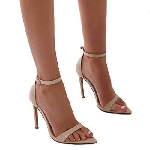 Public Desire Womens Ace Pointed Toe Barely There Stiletto Heels Shoes Nude Patent UK 7 / EU 40 / US 9 from Public Desire