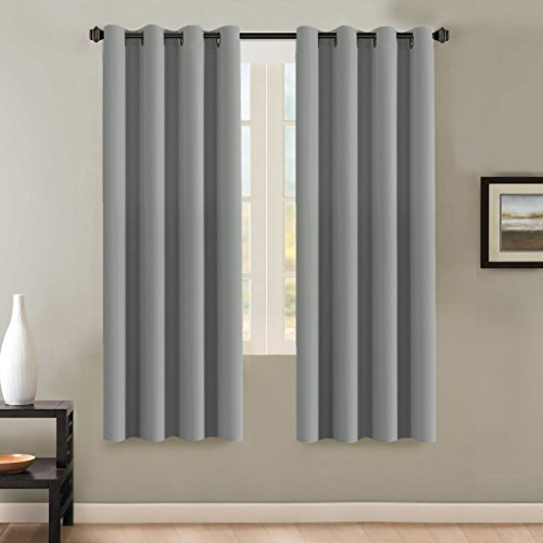 H.Versailtex Insulated Thermal Blackout 72-Inch Long Grey Curtain Panels Pair - Nickel Grommet Window Drapes for Bedroom/Living Room (Dove Gray,Set of 2) (Long 72 Panels Curtain)