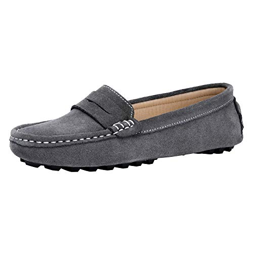 Handsewn Suede Leather Driving Moccasins Penny Loafers Casual Slip On Fashion Boat Shoes VJ6088A-HUI095 Grey ()