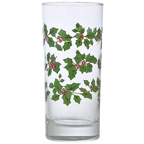 Holly Berry Clear Glass Coolers 16 Oz. (2 Pack)