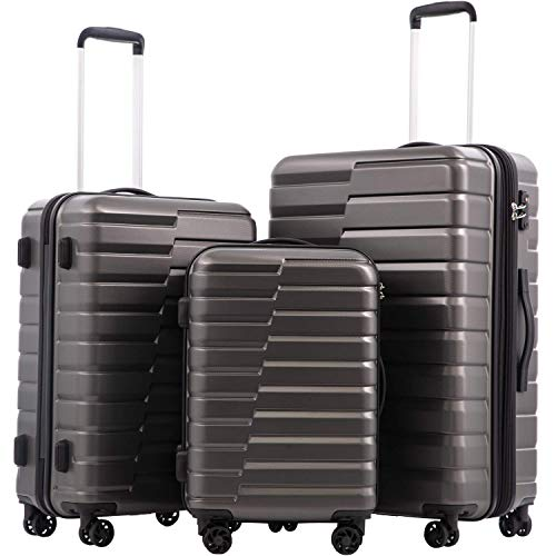 """COOLIFE Luggage Expandable(only 28"""") Suitcase PC ABS TSA Lock Spinner Carry on new fashion design (gray, 3 piece set)"""