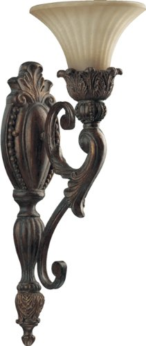 Quorum 5530-1-88 Madeleine - One Light Wall Bracket, Corsican Gold Finish with Antique Amber Scavo Glass ()