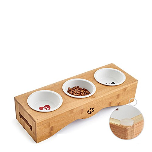Perro Bowl Tazón De Fuente Doble Cerámica Bambú Madera Comedor Mesa De Acero Inoxidable-G