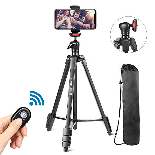 "Phone Tripod, Cell Phone Tripod 54"" Adjustable Travel Tripod Stand with Bluetooth Remote & Cell Phone Mount Holder 360 Panorama Ball Head,Compatible with Mobile Cell Phone iPhone/Android Camera"