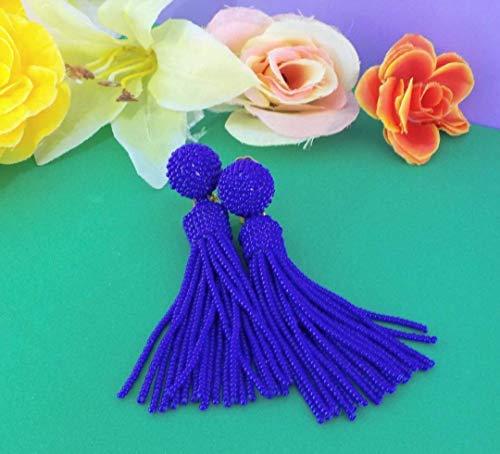 (Luisa Royal Blue Beaded Tassel Fringe Earrings)