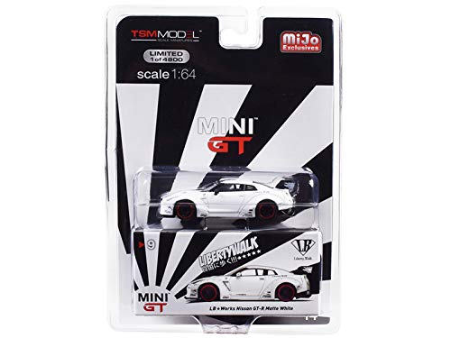 (Nissan GT-R (R35) Type 1 LB Works LibertyWalk Matt White with Rear Wing Limited Edition to 4,800 Pieces Worldwide 1/64 Diecast Model Car by True Scale Miniatures MGT00009)