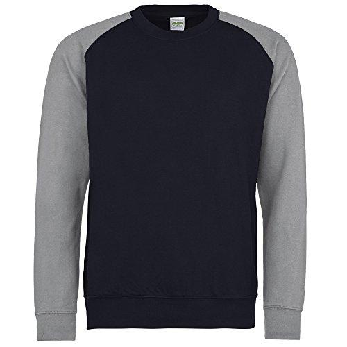 Cotton Oxford Pullover - Awdis Mens Two Tone Cotton Rich Baseball Sweatshirt (S) (Oxford Navy/Heather Grey)