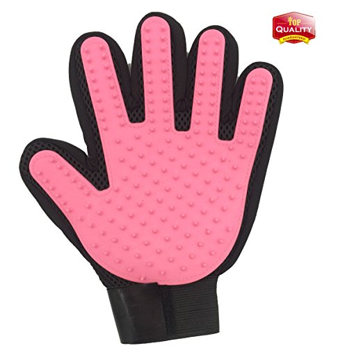 YYVIGO Pet Grooming Glove Deshedding Glove For Gentle Dogs Cats 1 Pack (Pink Left)
