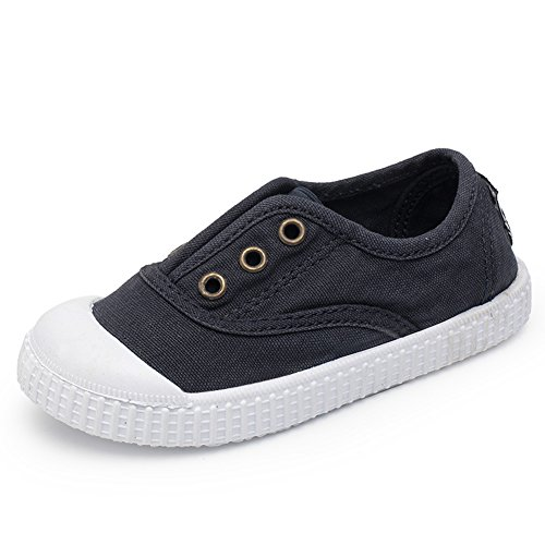 KaMiao Toddler Canvas Light Weight Slip-on Sneakers Flats For Walking KM167-Blue01-22 (Lace Toddler Shoe)