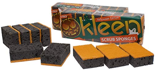 Okleen, Kitchen Sponges, Big Pack of 27. Large Size 4.3x2.8x1.4 inch. Made in Europe. Color: Black and Orange. for Cleaning Dishes, Microwave, Range Hood. Multi Use Washing, Non Scratch Scrub Fiber (Rangehood Microwave)