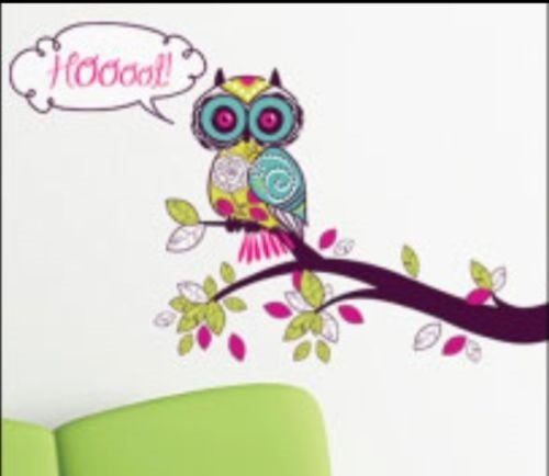 Hoot Owl on Limb Removable Wall Decals Stickers Peel and Stick Won't Harm Walls