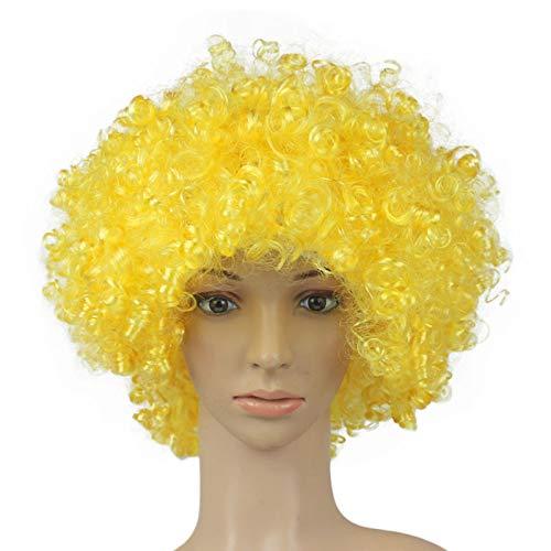 Hunputa Party Disco Funny Rainbow Afro Clown Wig for Sports Fan,Cheerleaders, Carnival, Cosplay, Halloween, Christmas]()