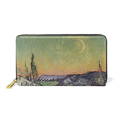 Blue Viper Van Gogh Painting Landscape With Couple Walking Crescent Moon Personalized Leather Long Wallet Zipper Purse Case Card Holder by Hokkien