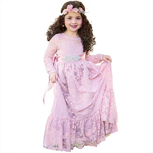 Lace Flower Girl Dress Wedding Party Country Princess Dresses Boho Long Sleeves Gown for Girls 10-11yrs - Pink