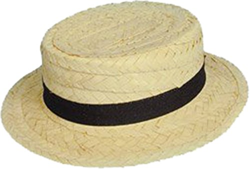 [Sailor Skimmer Fancy Dress Accessory Black Ribbon Band Straw Boater Hat] (Sailor Straw Hat)