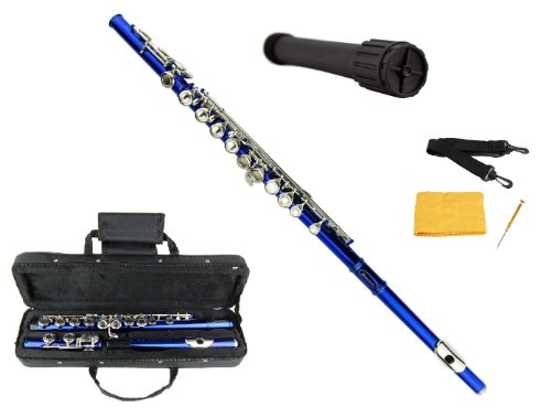 Merano Blue / Silver Flute with Carrying Case+Black Stand+Clean Rod