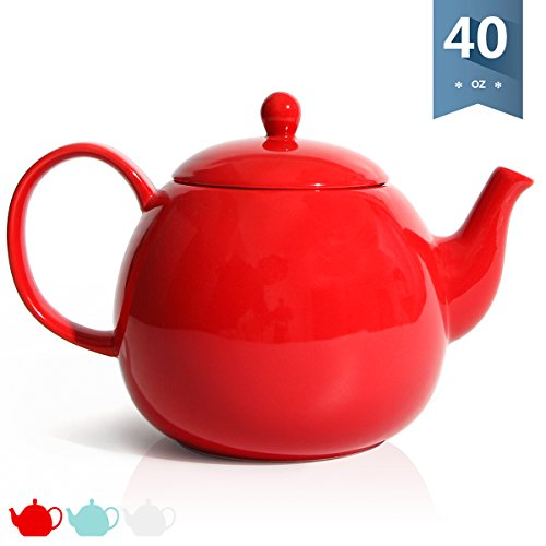 Sweese 2312 Porcelain Teapot, 40 Ounce Tea Pot - Large Enough for 5 Cups, Red