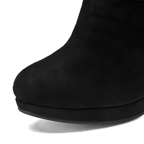 Ladies Leather Diamond Boots Outdoor Kitten Imitated AdeeSu Black Heels Glass gfanx