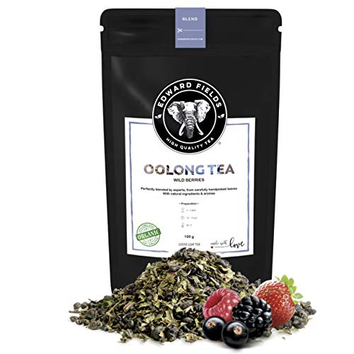 Edward Fields Tea - Te azul Oolong organico a granel con frutos rojos del bosque, 100 gramos