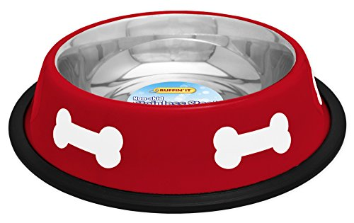 Westminster Dog Food - westminster pet products 19216 16 OZ, Red With White Bones, Stainless Steel Fashion Bowl