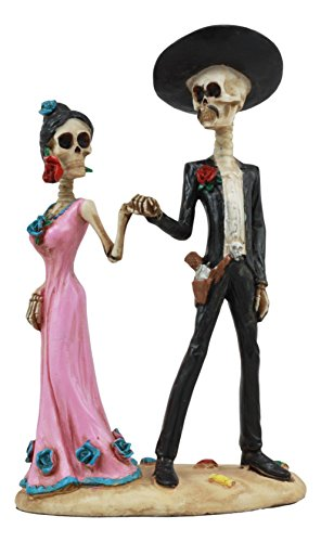 Ebros Day of The Dead Latin Tango Skeleton Couple Dancing Statue 5.75