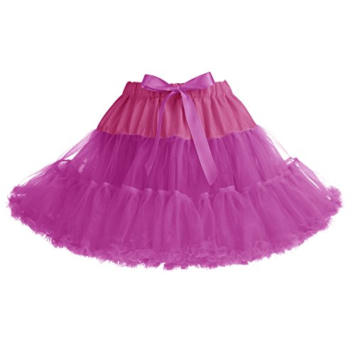 IVNIS RS90010 Women's Petticoat Tutu Skirt 2 Layered Ballet Dance Pettiskirt Mini Skirt Rose (Rose Pink Layered)
