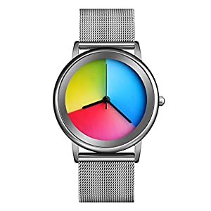CakCity Womens Colorful Waterproof Wrist Watch – Unisex Stainless Steel Quartz Analog Watches for Women Simple Fashion…