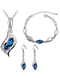 Silver Plated Teardrop Crystal Rhinestone 3 Pcs...