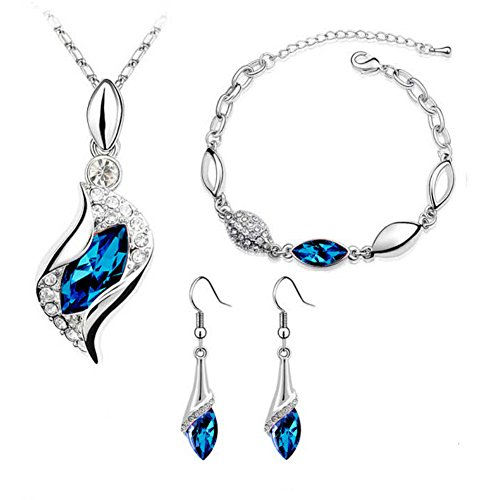 ISAACSONG.DESIGN Bridal Wedding Crystal Rhinestone Silver Necklace Bracelet Earring Jewelry Set for Women (Dark Blue) ()