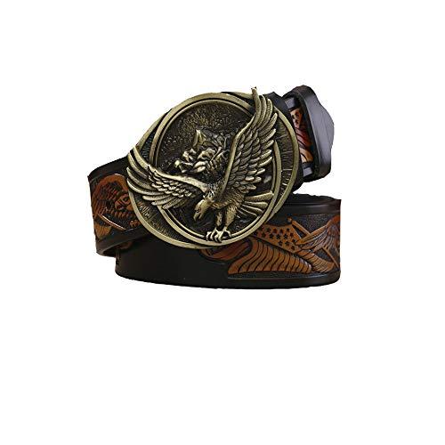 Men's Belt Leather/Eagle Head Smooth Buckle Belt/Fashion Button Buckle Belt, Black, 115cm