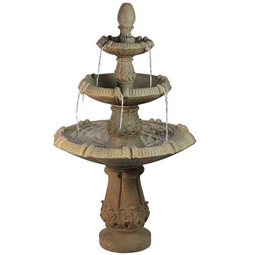 "55"" Traditional Three Tier Leaf Design Outdoor Patio Garden Water Fountain"