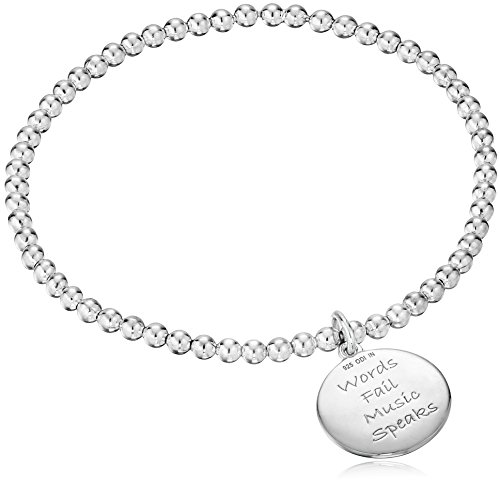 Sterling Silver Diamond Accent Sentiment Stretch Bead Charm Bracelet