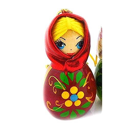 hand carved painted russian wood christmas ornament girl with scarf 2 inch