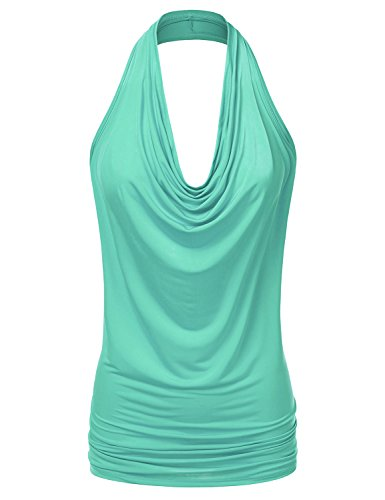 NINEXIS Women's Halter Neck Draped Front Open Back Top MINT L - Green Halter Top Shirt