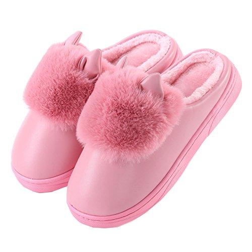 PU oídos de gato algodón zapatillas de casa-Unisexo invierno calentar felpa Botín con los zapatos oscuro Rossa