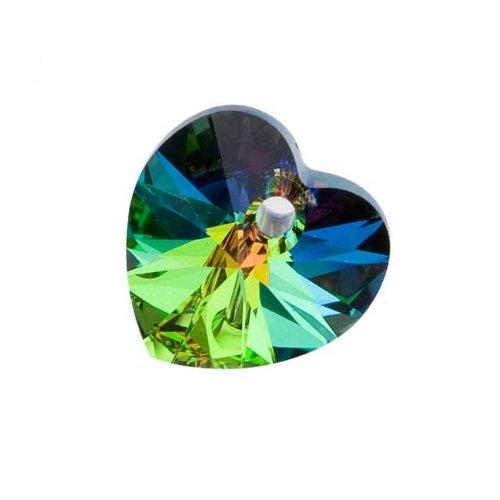 Swarovski Crystal, #6228 Heart Pendants 10mm, 6 Pieces, Vitrail - Vitrail Austrian Crystal