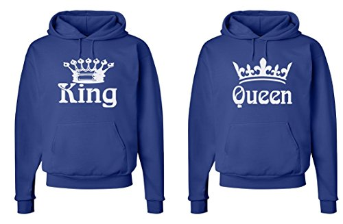 FASCIINO Matching His & Hers Couple Hooded Sweatshirt Set - King and Queen (White) by FASCIINO