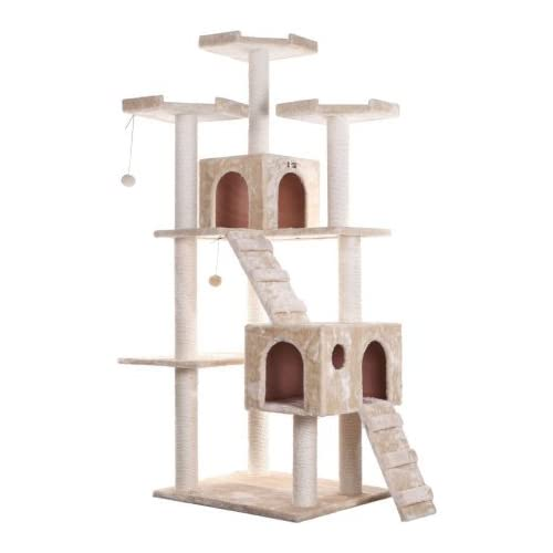 chic Wooden Cat Tree, beige, large, is easy to assemble.