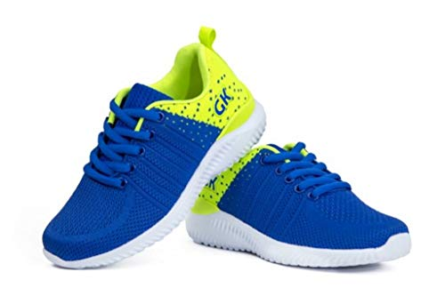 Pictures of Kids Athletic Tennis Shoes - Little Kid Sneakers with Girl and Boy Sizes Blue/Green Size 1 Little Kid (Azul/Verde - 32) 1 M US 1