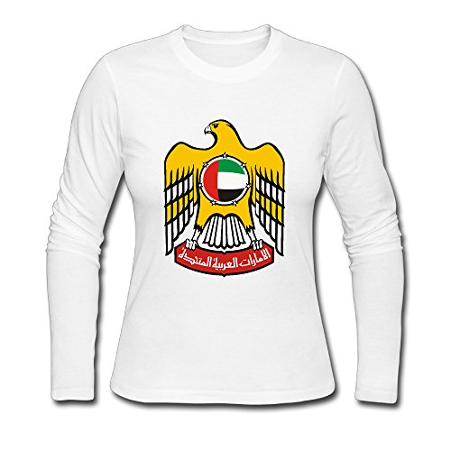 Women's Fashion Emblem Of The United Arab Emirates Long Sleeve Tshit White US Size S