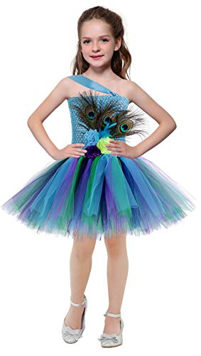 SanLai Halloween Costumes for Girls Peacock Flower Tutu Dress Birthday Party Outfit for Kids]()