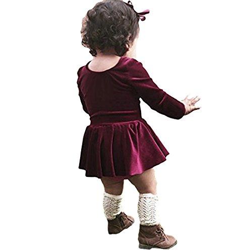 Cenhope Toddler Baby Girls Long Sleeve Round Neck Velvet Dress (Wine, 90/6-12 M) ()