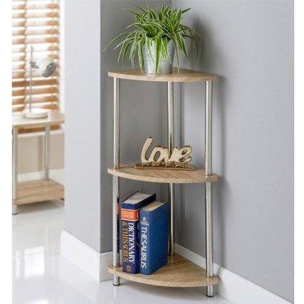 Svar 3 Tier Oak Effect Wooden Cupboard Corner Shelf Unit Side Table Organiser Storage Rack Caddy Bloomingtons