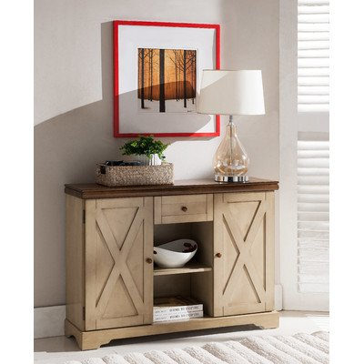 August Grove Free Stand Antique white and Walnut finish Server Cabinets