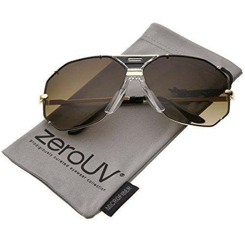 zeroUV - Modern Hexagonal Geometric Studded Metal Frame Aviator Sunglasses 67mm (Black-Gold / Brown) (67 Mm Metal)