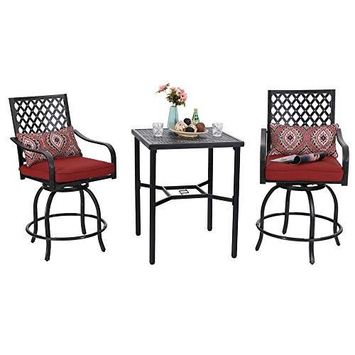 PHI VILLA Outdoor Extra Wide Height Swivel Bar Stools Arms Chairs and Table Set 3